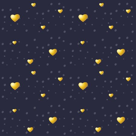 Golden hearts on a night background. Vector seamless texture for Valentines Day Ilustração