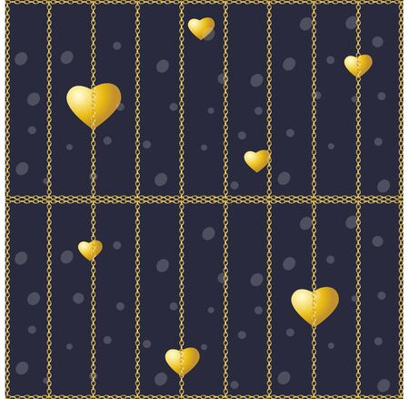 Golden hearts on a dark background. Vector seamless texture for Valentines Day. Golden chain fence. Golden cage Ilustração