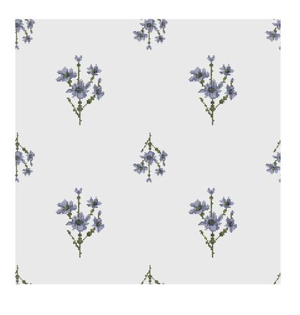 Hand embroidery style blue flowers seamless pattern. Vertical directionbig and small flowers Ilustracja