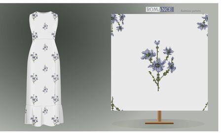 Seamless blue flowers pattern on dress mockup.