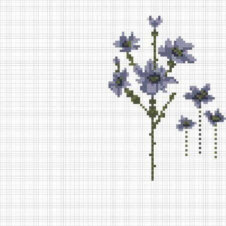 Hand embroidery style blue flowers illustration. Stock Illustratie