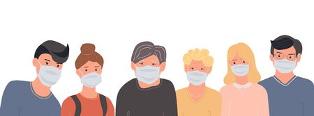 Family of six in medicine masks.