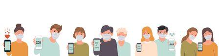 Group of people wearing medicine masks