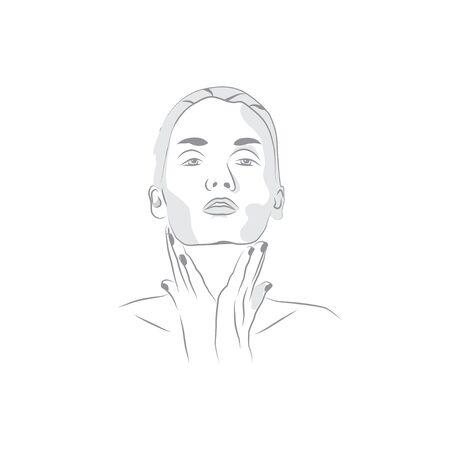 Woman face line silhouette. Elegant woman