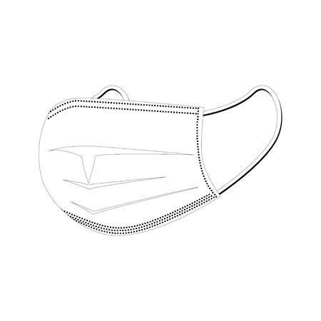 Medical protective mask. Line art  illustration