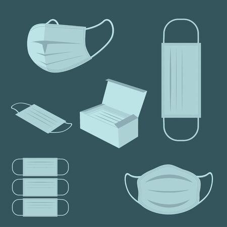 illustration of protective medical masks