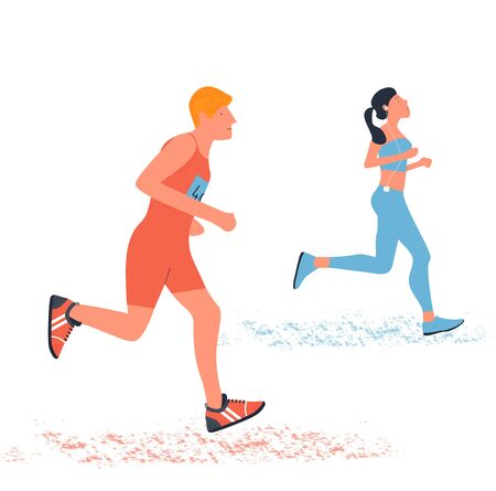 A man and a woman running. Flat illustration