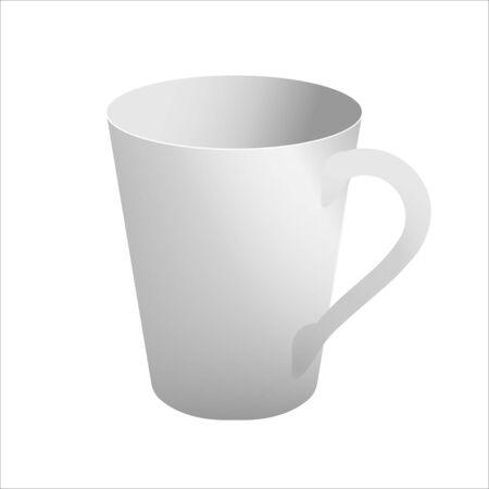 White mug realistic vector template