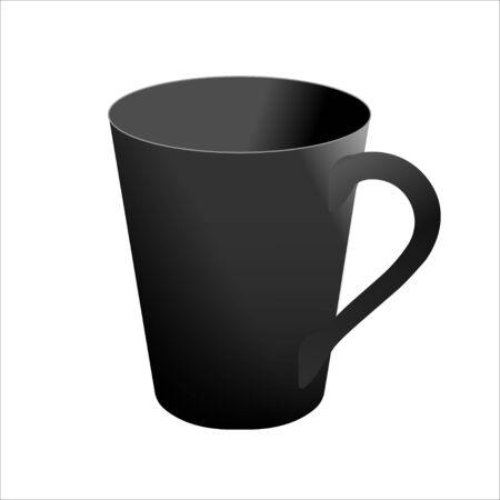 Black mug realistic vector template.