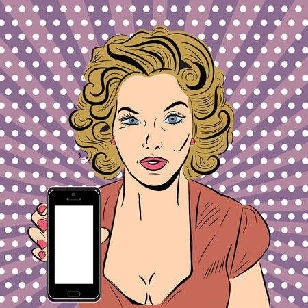 Vector pop art illustration with sexy woman and phone. EPS 10