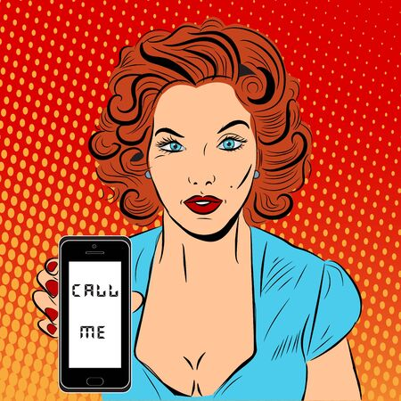 Vector pop art illustration with woman and phone Vetores