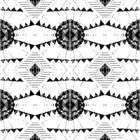 Pencil hand drawn ethnic pattern. Ilustracja