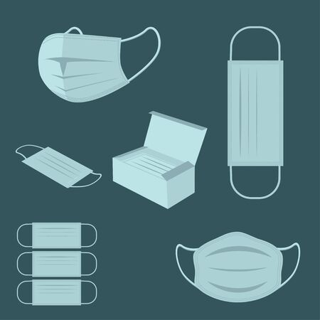 Vector illustration of protective medical masks Ilustracja