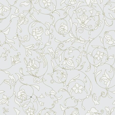 Vector floral texture. EPS 10 seamless pattern. White flowers on a grey background