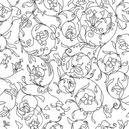 Vector floral black and white seamless texture. EPS 10 seamless pattern