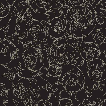 Vector floral black seamless texture with white contour flowers. EPS 10 seamless pattern