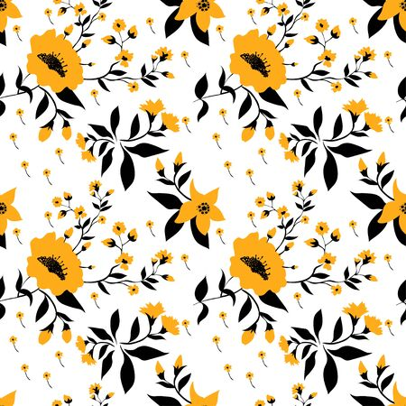 Black and white elegant vintage wallpaper. Yellow flowers on a white background