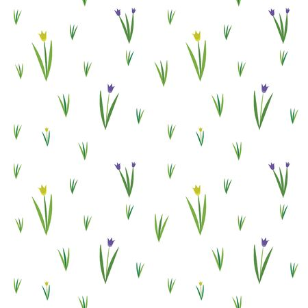 Vector seamless texture with spring fiels and wild flowers