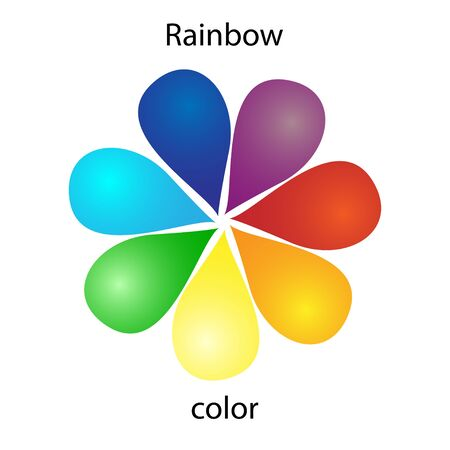 Rainbow color flower icon on a white background