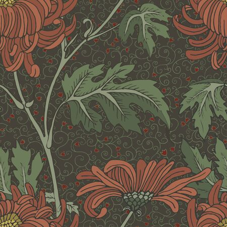 Red aster vintage seamless background. Large and small flowers