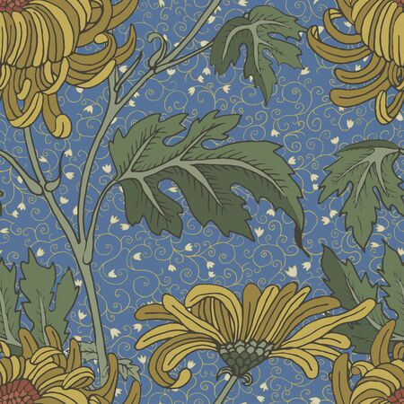 Yellow aster vintage seamless background. Large and small flowers on a blue background Ilustracja