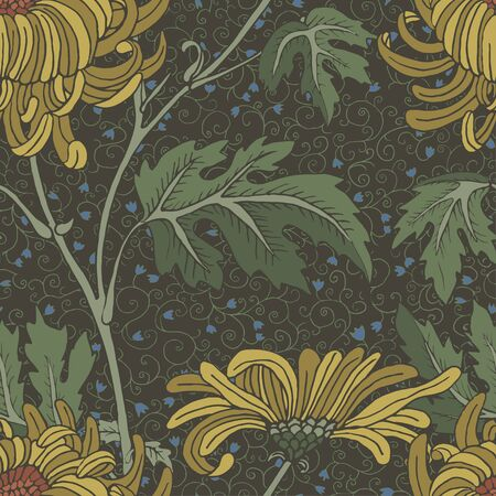 Yellow aster vintage seamless background.