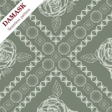 Vector Damask seamless ornament for wallpaper or fabric