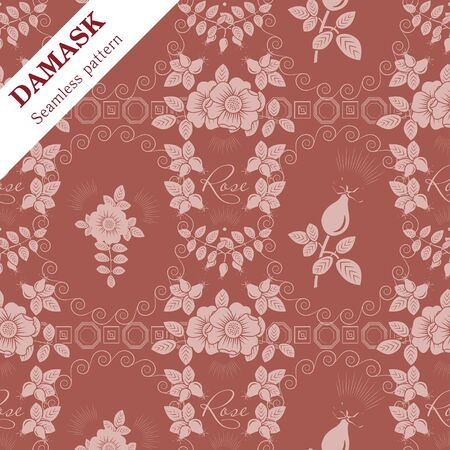 Vector Damask seamless ornament wild rose motif
