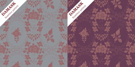 Set of two vector Damask seamless ornaments