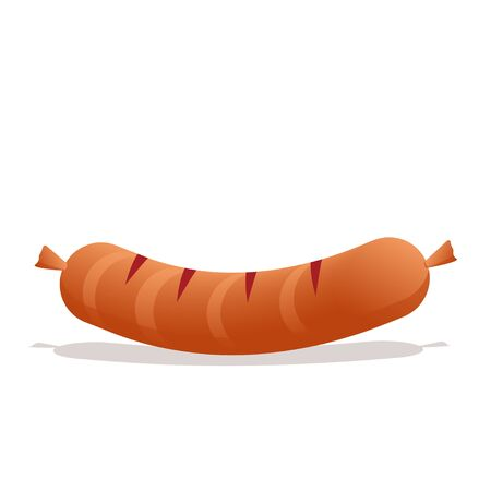 Vector illustration of a sausage. Isolated on a white background