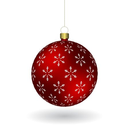 Red Christmass ball with snowflakes print hanging on a golden chain. EPS 10