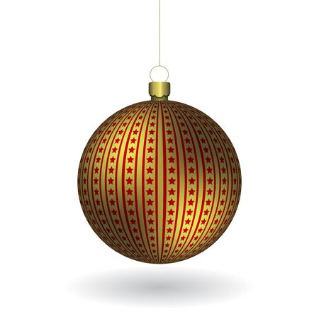 Golden Christmass ball hanging on a golden chain. EPS 10
