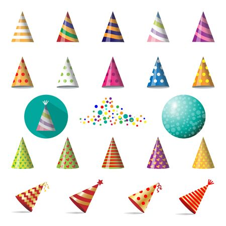 Vector set of party caps on white Ilustracja