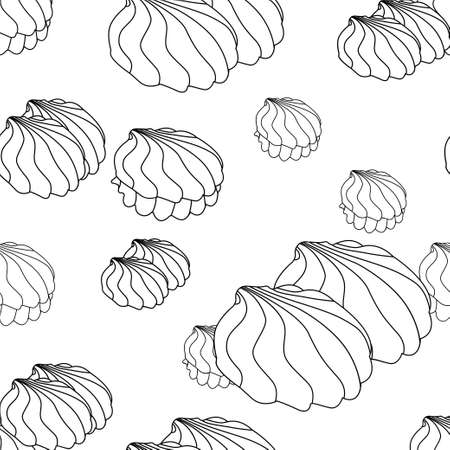 Contour zephyr on a white background. Vector seamless pattern