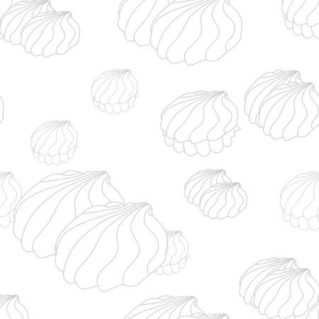 Vector white background with contour zephir. Seamless pattern