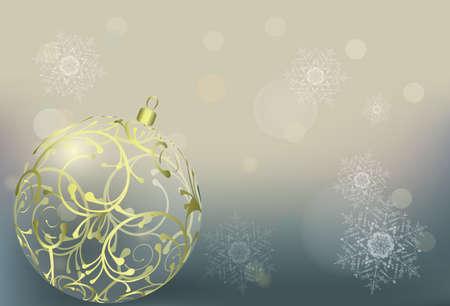 Winter bokeh vector background. Christmas wallpaper wilh a ball. EPS 10