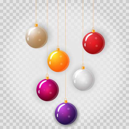 Vector set of colorful Christmas balls hanging. EPS 10