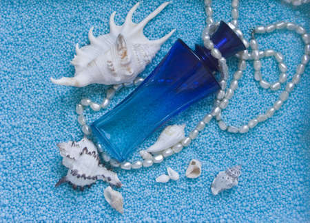 The image of a bottle of perfume and cockleshells on a dark blue background Stock Photo - 3477477