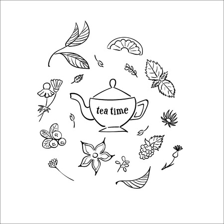 tea leaf: Tea time set. Herbal tea