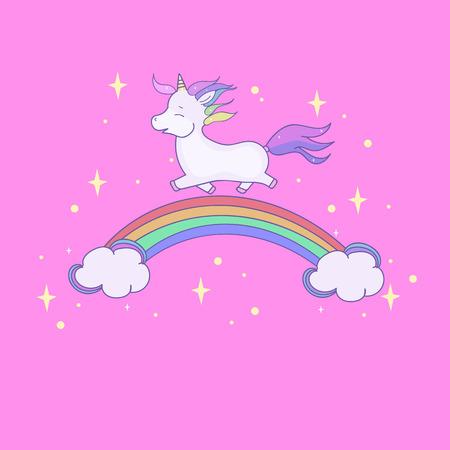 Cartoon children illustration. Cute unicorn and rainbow.