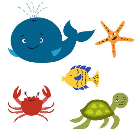 cangrejo caricatura: Conjunto de animales marinos - ballena, tortugas marinas, peces tropicales, estrellas de mar, cangrejos
