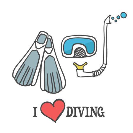 deepsea: Dive mask, fins and snorkel Illustration. I love diving