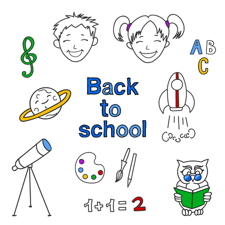 schoolkids: Back to school doodles icons set