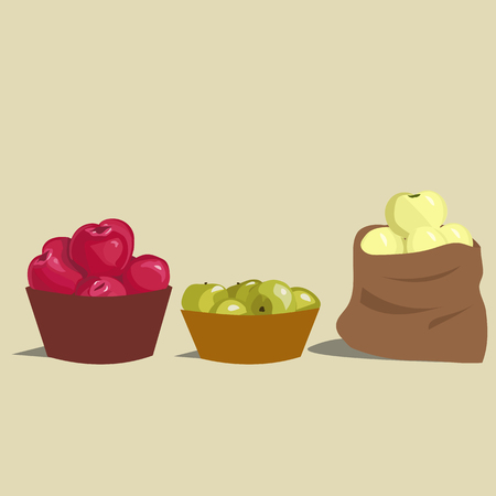picking fruit: Set of red, green and yelow apples Illustration