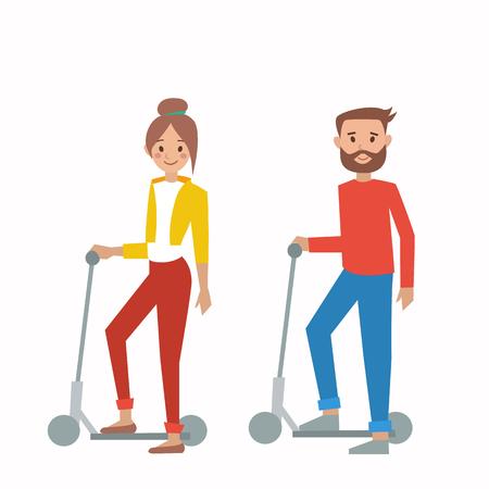 Niño y niña en scooter, ilustración vectorial Vectores
