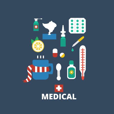gripe: Medicamentos aislados sobre fondo oscuro. Primeros auxilios para los resfriados y la gripe. Vector de fondo médica. Vectores