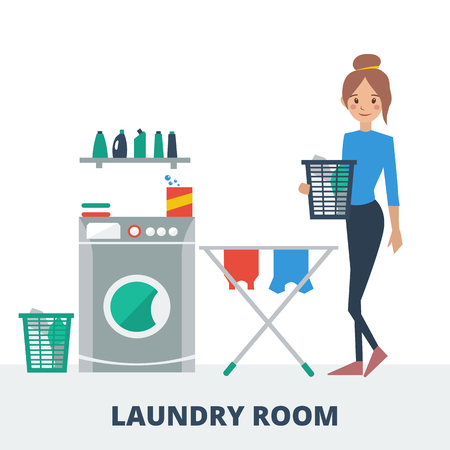 Young woman doing laundry in laundry room. Vector illustration Stock Illustratie
