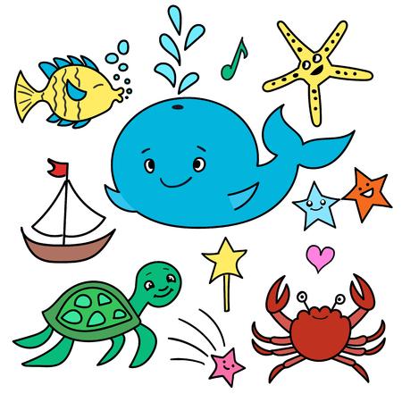 sea animals: Set of vector sea animals - whale, sea turtle, tropical fish, starfish, crab