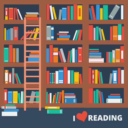 librarian: Vector flat illustration of library book shelf. I love reading. Illustration
