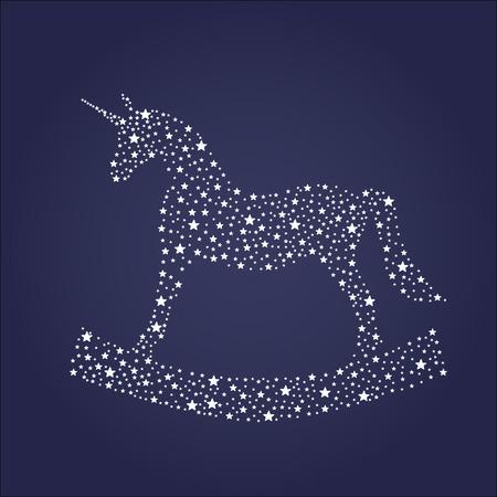Stars silhouette of unicorn. Vector illustration